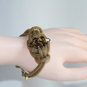 J Crew Gold Mesh Knot Crystal Bracelet